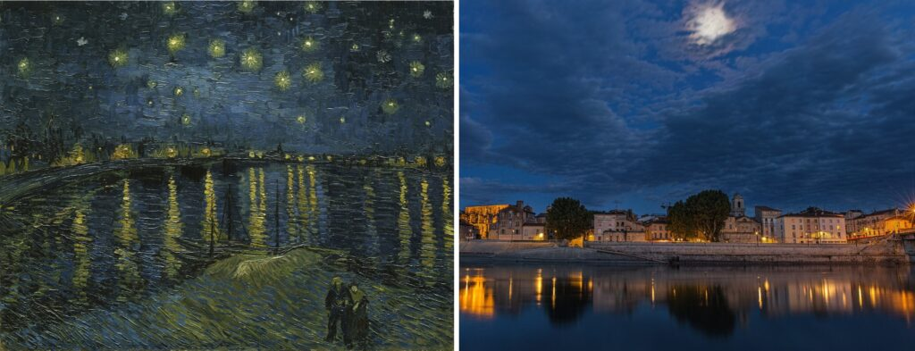 Notte stellata sul Rodano (1888) Van Gogh La Provenza di Van Gogh e Cèzanne.
